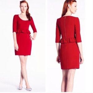 KATE SPADE Mary Deep Red Peplum Sheath Dress Size 8